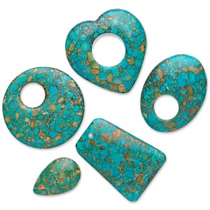 focal and drop mix, mosaic turquoise (dyed / assembled), blue-green, 20x20mm-41x40mm mixed shapes, c- grade, mohs hardness 3-1/2 to 4. sold per pkg of 5.