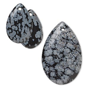 focal and drop, snowflake obsidian (natural), 20x13mm and 31x20mm hand-cut teardrop, b grade, mohs hardness 6-1/2 to 7. sold per 3-piece set.
