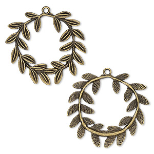 focal, antique brass-plated pewter (zinc-based alloy), 39x36mm single-sided wreath with leaves. sold per pkg of 4.