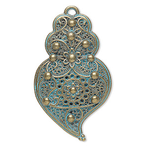 focal, antique copper-finished pewter (zinc-based alloy), green patina, 40x25mm single-sided textured with flower design. sold per pkg of 4.