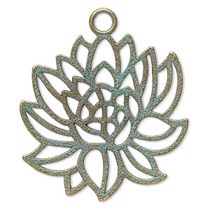 focal, antique copper-finished pewter (zinc-based alloy), green patina, 42x41mm two-sided lotus. sold per pkg of 2.