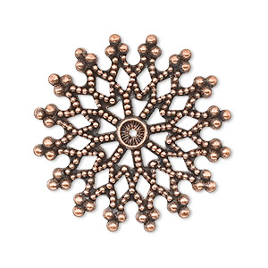 focal, antique copper-plated brass, 32x32mm filigree snowflake. sold per pkg of 10.