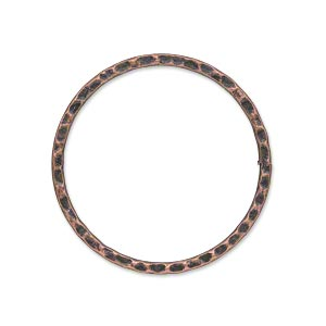 focal, antique copper-plated steel, 30mm double-sided hammered flat open round. sold per pkg of 10.