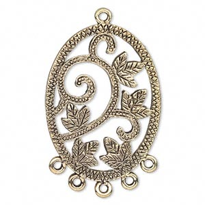 focal, antique gold-finished pewter (zinc-based alloy), 35x26mm single-sided oval with leaves and 5 loops. sold per pkg of 4.