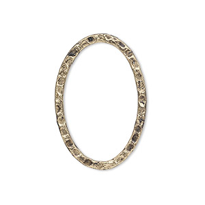 focal, antique gold-plated steel, 30x20mm double-sided hammered flat open oval. sold per pkg of 8.