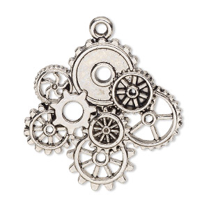 focal, antique silver-finished pewter (zinc-based alloy), 34x33mm single-sided with gears. sold individually.
