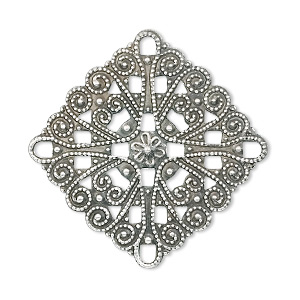focal, antique silver-plated brass, 34x34mm filigree diamond. sold per pkg of 10.