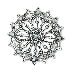 focal, antique silver-plated brass, 34x34mm filigree flower. sold per pkg of 10.