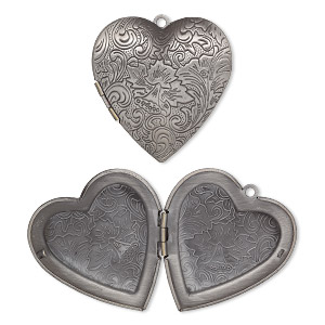focal, antique silver-plated brass, 42x40mm double-sided heart locket with etched flower and scroll design. sold individually.