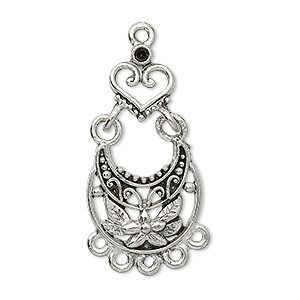 focal, antique silver-plated pewter (tin-based alloy), 31x17mm floral teardrop with heart and 6 loops, fits (1) pp11. sold per pkg of 2.