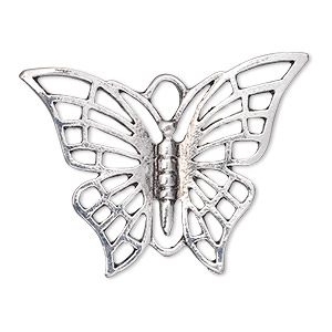 focal, antique silver-plated pewter (zinc-based alloy), 39x29mm single-sided butterfly with cutouts. sold per pkg of 10.