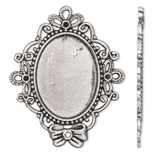 focal, antique silver-plated pewter (zinc-based alloy), 56x46mm single-sided oval with (3) pp8 chaton settings and (1) 31x23mm oval setting. sold individually.
