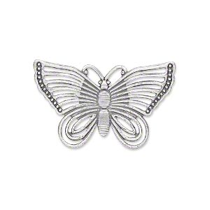 focal, antique silver-plated steel, 30x18mm single-sided fancy butterfly. sold per pkg of 24.