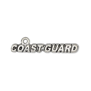 focal, antiqued pewter (tin-based alloy), 33x5mm coast guard. sold per pkg of 4.