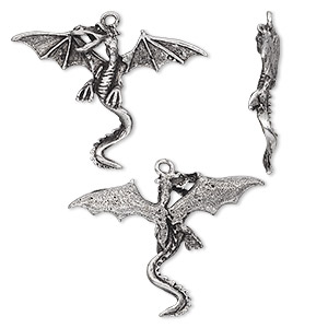 focal, antiqued pewter (tin-based alloy), 42x31mm dragon with wings. sold per pkg of 2.