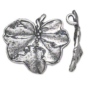 focal, antiqued silver-plated pewter (tin-based alloy), 35x31.5mm single-sided textured leaf. sold individually.