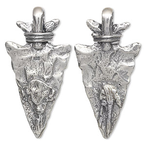 focal, antiqued sterling silver, 40x20mm arrowhead with native american and buffalo design. sold individually.