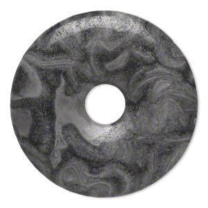 focal, black lace marble (natural), 40mm hand-cut round donut, b grade, mohs hardness 3. sold individually.