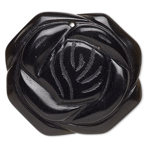 focal, blackstone (dyed), 40-45mm hand-carved flower, b grade, mohs hardness 6-1/2 to 7. sold individually.