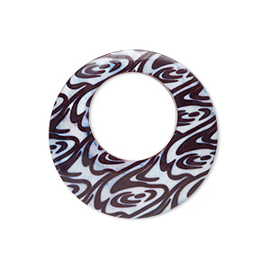 focal, blister pearl shell (dyed), white / dark brown / purple, 54-58mm round go-go with swirl decal. sold individually.