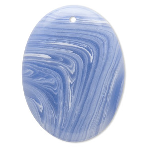 focal, blue lace agate (imitation), blue and white, 40x30mm top-drilled flat oval. sold individually.