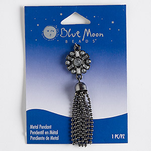 focal, blue moon beads, acrylic rhinestone with gunmetal-finished steel and pewter (zinc-based alloy), clear, 2-3/4 inches. sold individually.