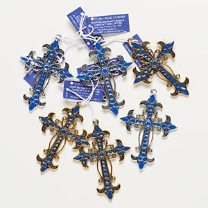 focal, blue moon beads, enamel and pewter (zinc-based alloy), blue, 68x52mm cross. pkg/6.
