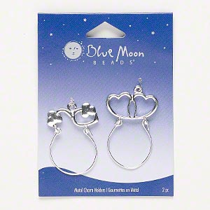 focal, blue moon beads, silver-finished pewter (zinc-based alloy), 37x26mm-38x27mm charm holder with heart design. sold per pkg of 2 focals.
