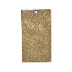 focal, brass, 32x18mm double-sided flat rectangle blank with 1.3mm hole. sold per pkg of 6.