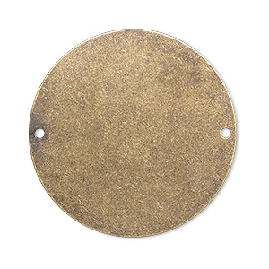 focal, brass, 34mm double-sided flat round blank with (2) 1.4mm holes. sold per pkg of 4.