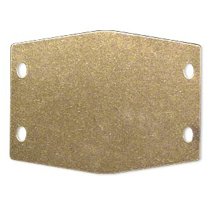 focal, brass, 52x39mm double-sided flat hexagon blank with (4) 4x2mm holes. sold per pkg of 2.