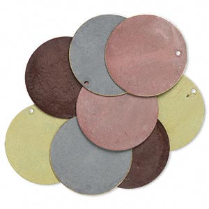 focal, brass, assorted earth-tone patina, assorted pantone colors, 30mm double-sided flat round. sold per pkg of 8.