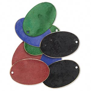 focal, brass, assorted jewel tone patina, assorted pantone colors, 30x20mm double-sided oval. sold per pkg of 8.