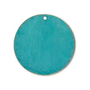 focal, brass, bright teal patina, pantone color 17-4818, 30mm double-sided flat round. sold per pkg of 6.