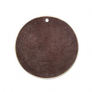 focal, brass, earth tone brown patina, pantone color 19-1321, 30mm double-sided flat round. sold per pkg of 6.