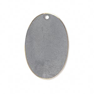 focal, brass, earth tone grey patina, pantone color 17-5102, 30x20mm double-sided oval. sold per pkg of 6.