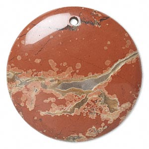 focal, brecciated jasper (natural), 40mm round with flat back, b grade, mohs hardness 6-1/2 to 7. individually.