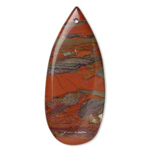 focal, brecciated jasper (natural), 46x20mm flat teardrop, b grade, mohs hardness 6-1/2 to 7. sold individually.