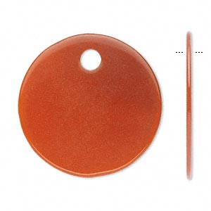 focal, carnelian (dyed / heated), 30mm flat round with 4mm hole, b grade, mohs hardness 6-1/2 to 7. sold per pkg of 2.