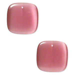 focal, cats eye glass, dark pink, 34x34mm top-drilled square. sold per pkg of 2.