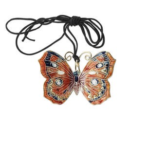 focal, cloisonne and copper, black / purple / orange, 50x35mm butterfly on adjustable black cord. sold individually.