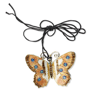 focal, cloisonne and copper, brown / blue / white, 46x35mm butterfly on adjustable black cord. sold individually.