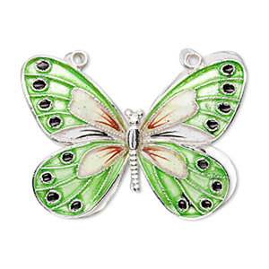 focal, cloisonne, sterling silver and enamel, green and multicolored, 36x27mm butterfly. sold individually.