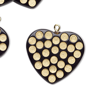 focal, coated acrylic and gold-finished pewter (zinc-based alloy), black and gold, 32x29mm heart. sold per pkg of 6.