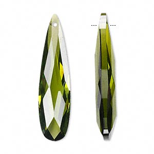 focal, cubic zirconia, olive green, 36x9mm faceted teardrop, mohs hardness 8-1/2. sold per pkg of 2.