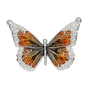 focal, enamel and imitation rhodium-plated pewter (zinc-based alloy), orange and black with glitter, 35x25mm single-sided butterfly. sold individually.