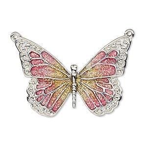 focal, enamel and imitation rhodium-plated pewter (zinc-based alloy), pink and yellow with glitter, 35x25mm single-sided butterfly. sold individually.