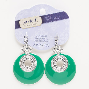 focal, enamel and silver-finished steel, green, 54x42mm with round. sold per pkg of 2.