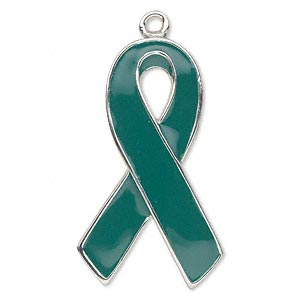 focal, enamel and silver-plated pewter (zinc-based alloy), green, 37x21mm single-sided awareness ribbon. sold individually.