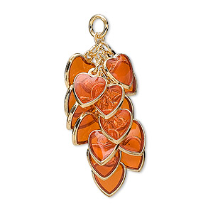 focal, epoxy and gold-plated brass, orange, 32x16mm heart cluster. sold per pkg of 4.